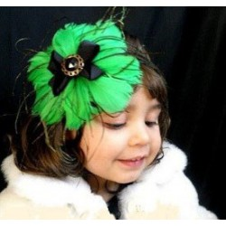 Green & Black Feather Hairband